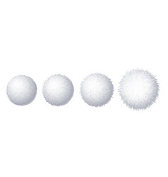 set of realistic fur pompons isolated on vector image