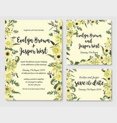 set wedding invitation greeting card save vector image