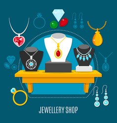 Showcase jewelry shop composition vector