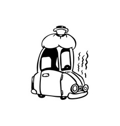 sick car cartoon vector image