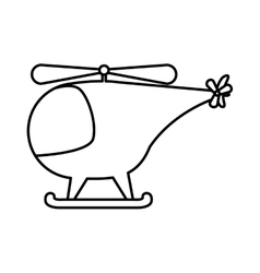silhouette helicopter toy flat icon vector image