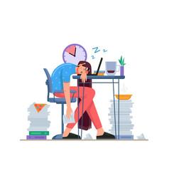Sleeping in home office stressed employee desk vector
