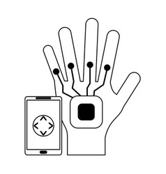 Smartphone controlling robot hand in black and vector
