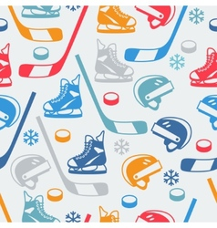 Sports seamless pattern with hockey equipment flat vector