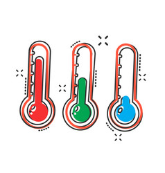 thermometer icon in comic style goal sign vector image