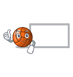 Thumbs up with board volleyball character cartoon vector