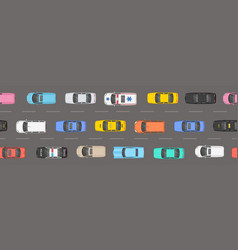 Top view of numerous cars in a traffic jam vector