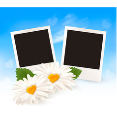 two daisies with heart shaped middles and photos vector image
