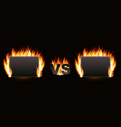 versus screen with fire vector image