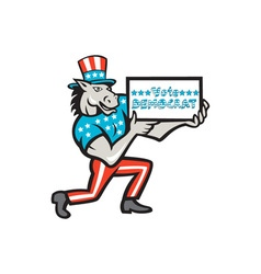 Vote Democrat Donkey Mascot Cartoon vector image