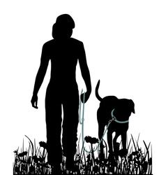 Walking with dog in the meadow vector