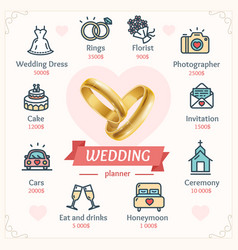 Wedding planner concept with shiny gold rings vector
