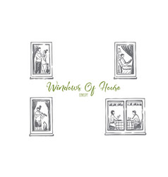 windows of house - people dancing reading vector image