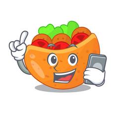 with phone falafel in pita in bread cartoon vector image