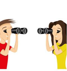 young people looking through binoculars vector image