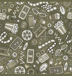 cartoon cute hand drawn cinema seamless pattern vector image vector image