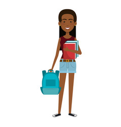 beautiful and young woman student with schoolbag vector image vector image