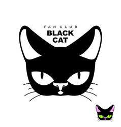 Black cat fan club Logo for cat lovers or cat vector image vector image