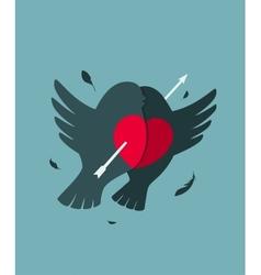 Bullfinch Birds Heart Love Couple with Arrow vector image