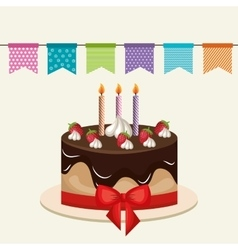 cake chocolate candles birthday graphic vector image vector image