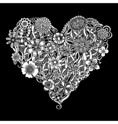 Floral heart Doodle vector image vector image