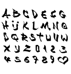 graffiti marker font and number alphabet on white vector image vector image