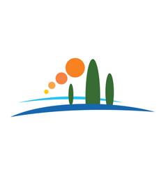 pine tree mountain nature logo vector image