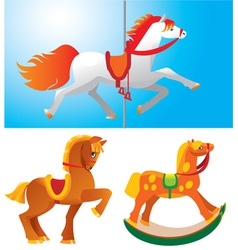 Set of toy horses vector image vector image