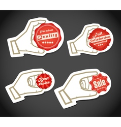 Shopping colorful discount labels in a hand vector image vector image