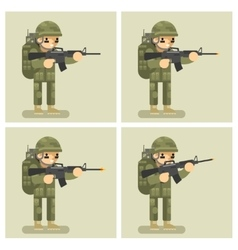 Soldier flat design animation shot weapon vector image