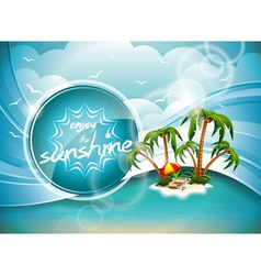 Summer Holiday Design with Paradise Island on blue vector image