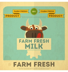 Cow milk poster vector image