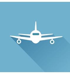 Flat long shadow air plane vector image