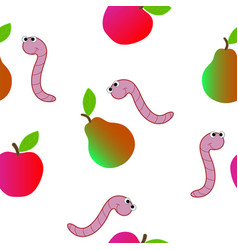 seamless texture consisting of a worm and fruit vector image vector image