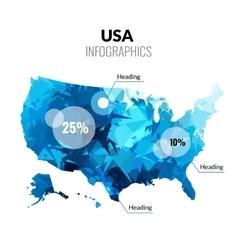 USA America polygonal triangle blue map vector image