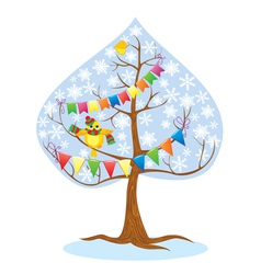 winter - tree and funny bird vector image