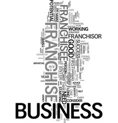 would you make a good franchisee text word cloud vector image