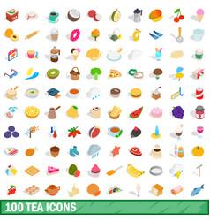 100 tea icons set isometric 3d style vector image