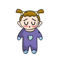 cute baby girl with hairstyle and clothes vector image