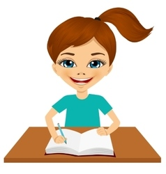 cute little caucasian student girl writing vector image vector image
