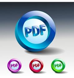pdf icon button internet document file vector image vector image