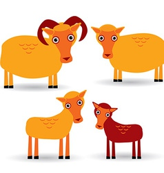 Ram ewe and lamb Set of funny animals with cubs on vector image vector image