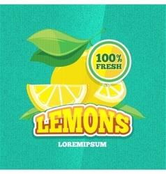 retro poster with juicy fresh lemon vector image vector image