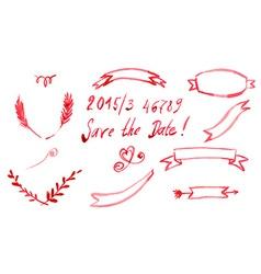 Set Watercolor Ribbon and Banner Invitation vector image