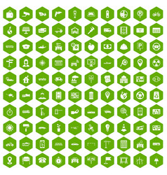 100 car icons hexagon green vector