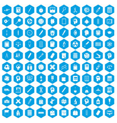 100 learning icons set blue vector image vector image