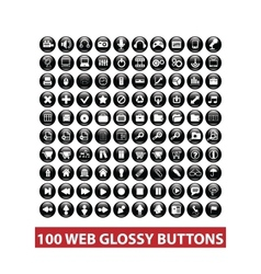 100 web black glossy buttons set vector image