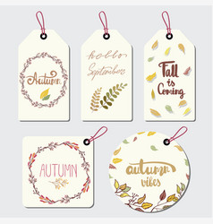 a collection of themed lable with leaves vector image
