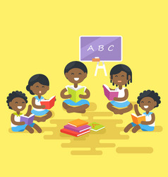 African children read books isolated vector