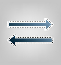 arrow simple sign blue icon with outline vector image